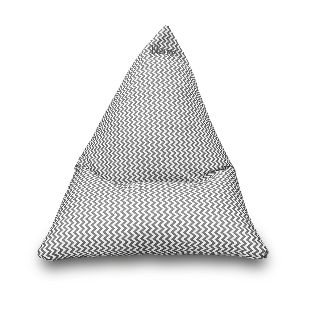 Personalised Grey Zigzag Children's Triangle Bean Bag