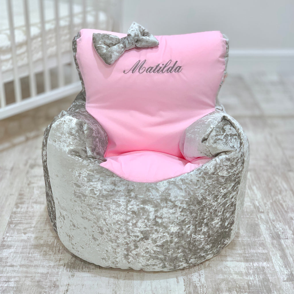 Personalised Silver Crushed Velvet And Pink Bean Bag Chair