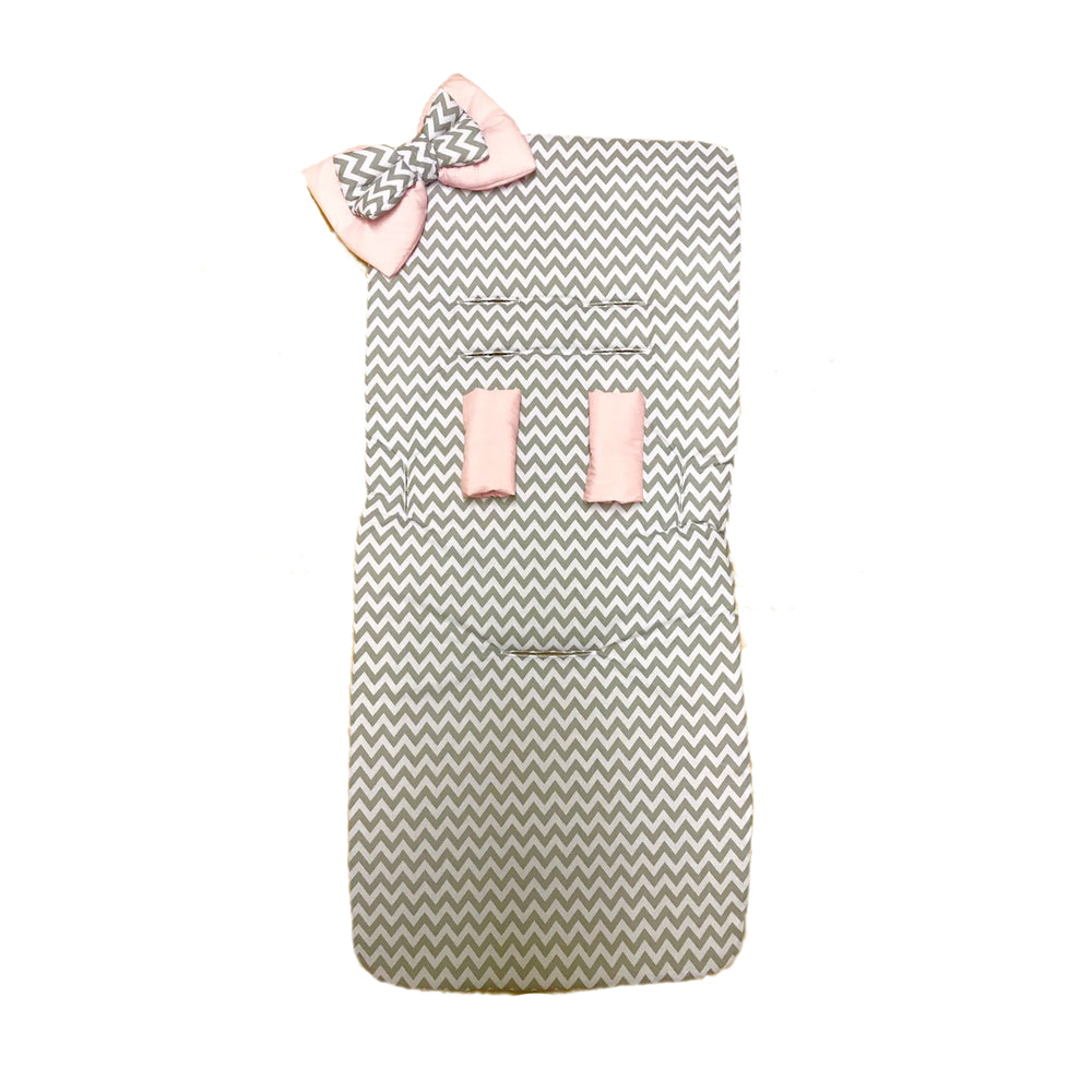 pink and grey zig zag pram liner web