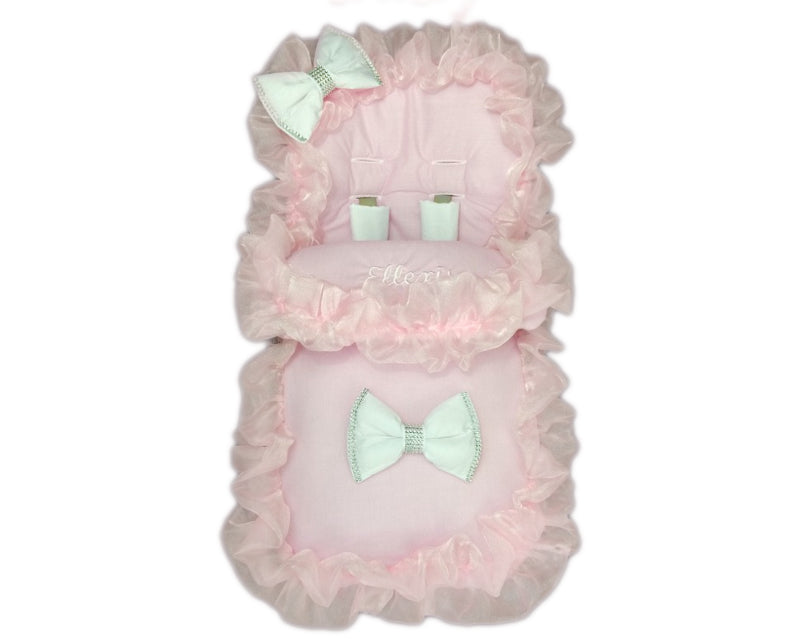 personalised footmuff  cosytoes **NEW** PINK//WHITE bling