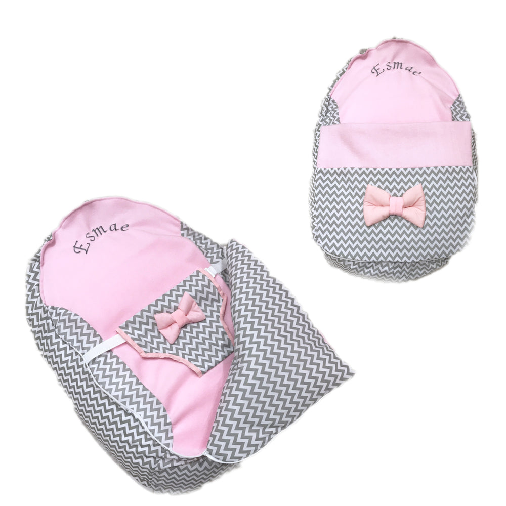 Personalised Grey ZigZag And Pink Baby Bean Bag Pod