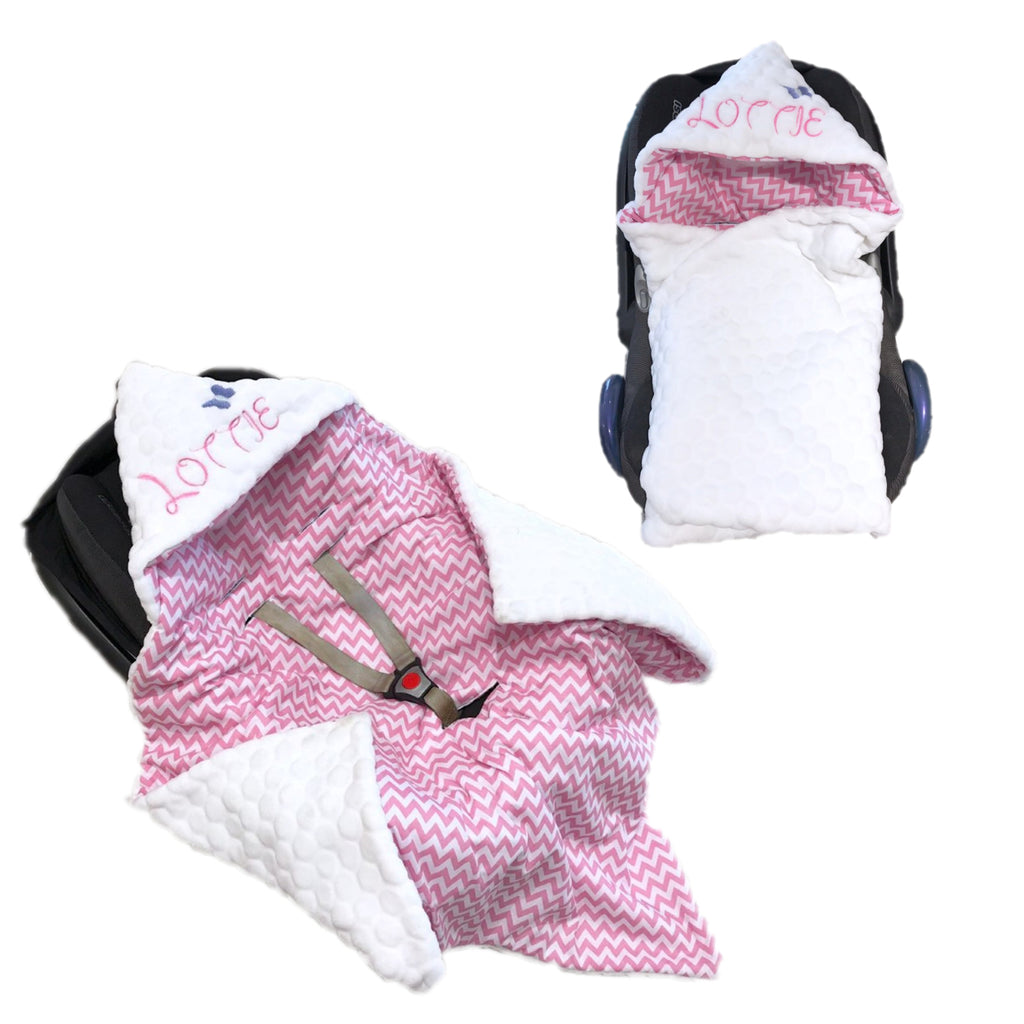 Personalised White Bubble Fleece And Pink Zigzag Car Seat Swaddle Blanket