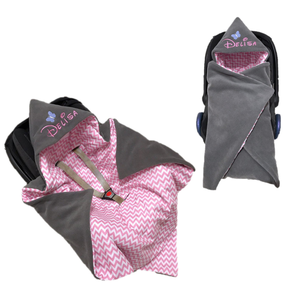 Personalised Grey Fleece And Pink Zigzag Car Seat Swaddle