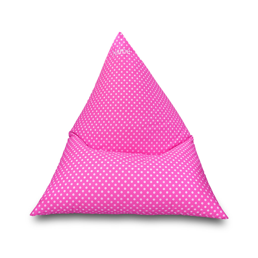 Personalised Pink Polka Dot Children's Triangle Bean Bag