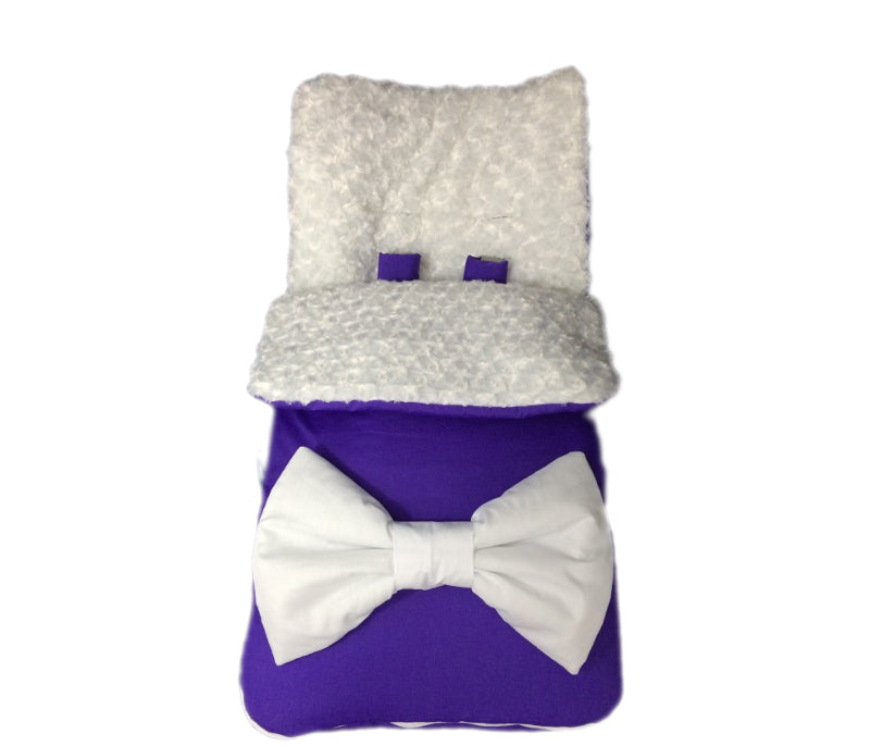 Personalised White Fur/Fleece And Purple Extra Large Bow Footmuff
