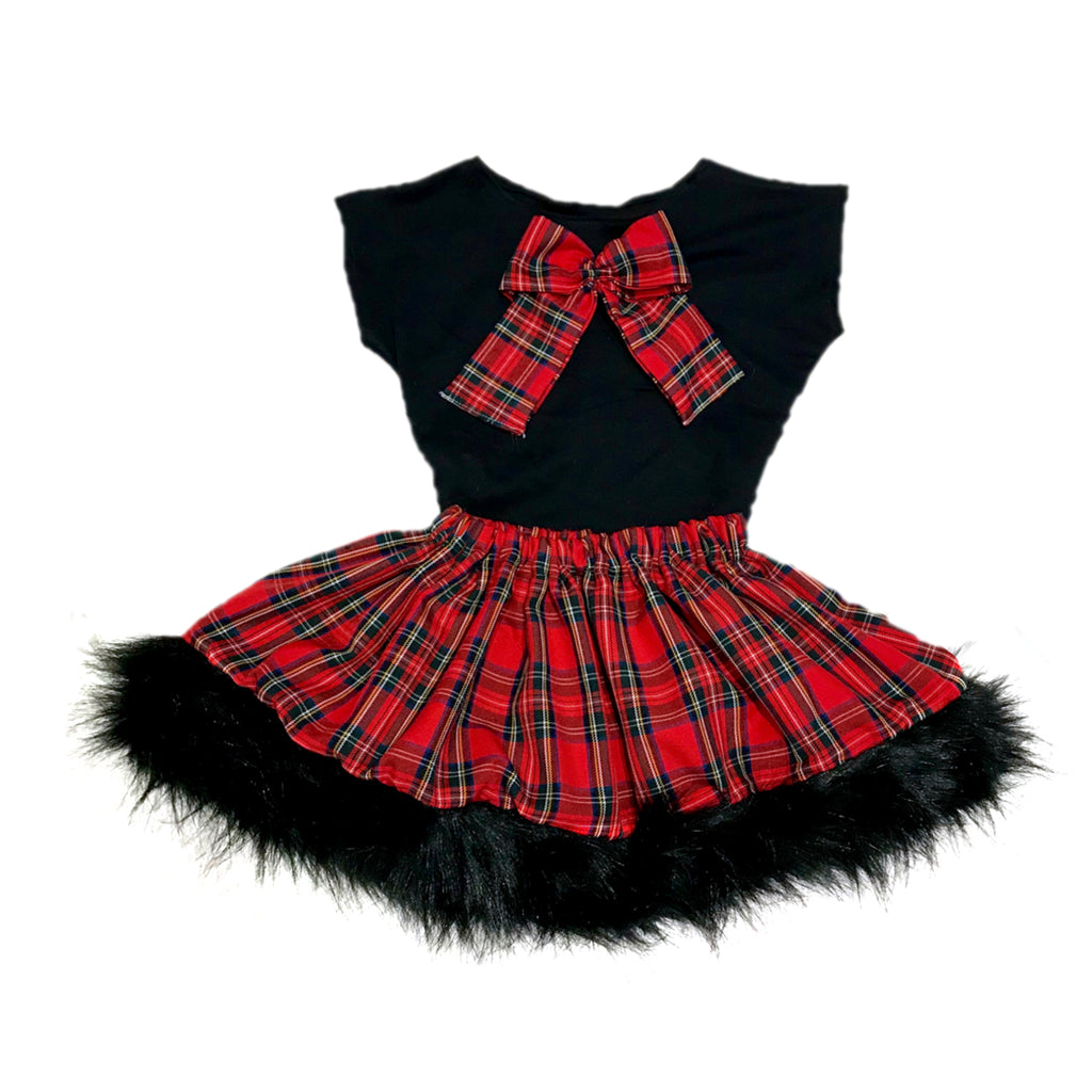 Tartan And Black Fur Skirt And Top Set