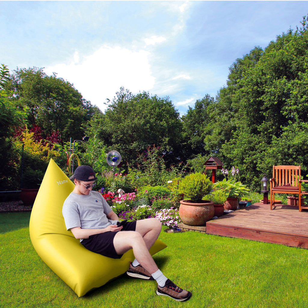 Personalised Yellow Leatherette Triangle Garden Bean Bag