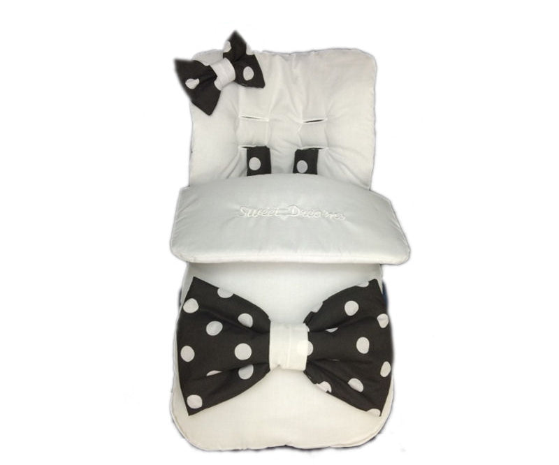 white-XL-black-polka-bow-footmuff