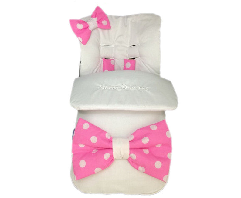 white-XL-pink-polka-bow-footmuff