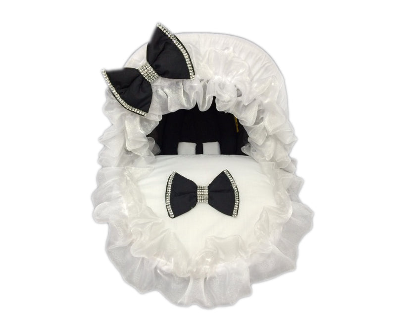 Personalised White Frilly Bling Black Bow Car Seat Cover