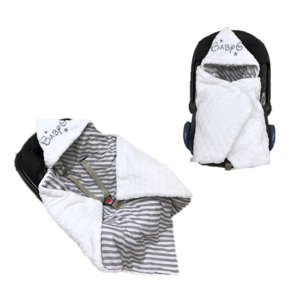 Personalised White Bubble Fleece And Grey Stripe Car Seat Swaddle Blanket