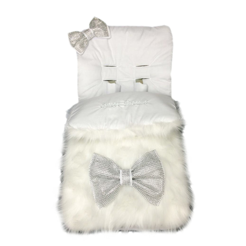 Personalised White Fur Footmuff