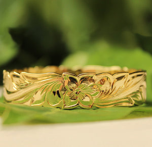 14K Gold Plated Hawaiian Scroll Bangle - 15mm