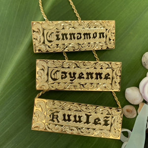 Custom Hawaiian Heirloom Nameplate w/ Chain