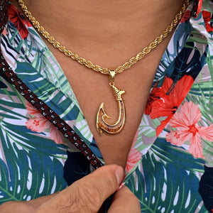 Koa Fish Hook with Diamond Cut Rope Chain on Model