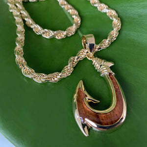 Koa Fish Hook with Diamond Cut Rope Chain