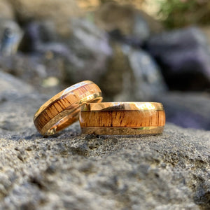 Koa 14K Gold Plated Stainless Steel Ring showing two widths.