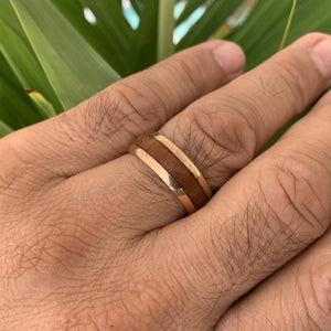 Close up of Koa 14K Gold Plated over Stainless Steel Ring on model.