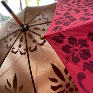Hawaiian Quilt Print Pineapple Umbrella in Pink and Brown