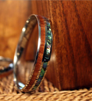 "Koa Wood Abalone ""Paua"" Stainless Steel Bangle closeup"