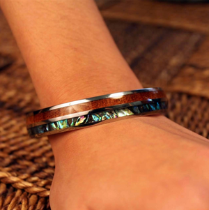 "Koa Wood Abalone ""Paua"" Stainless Steel Bangle"