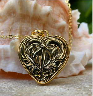 "Koa Aloha Heart with 18"" Adjustable Chain closeup of back scroll design in gold"