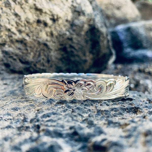 15MM Hawaiian Scroll Bangle Silver Plated