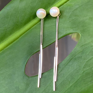 Pearl Chopstick .925 Sterling Silver Earrings