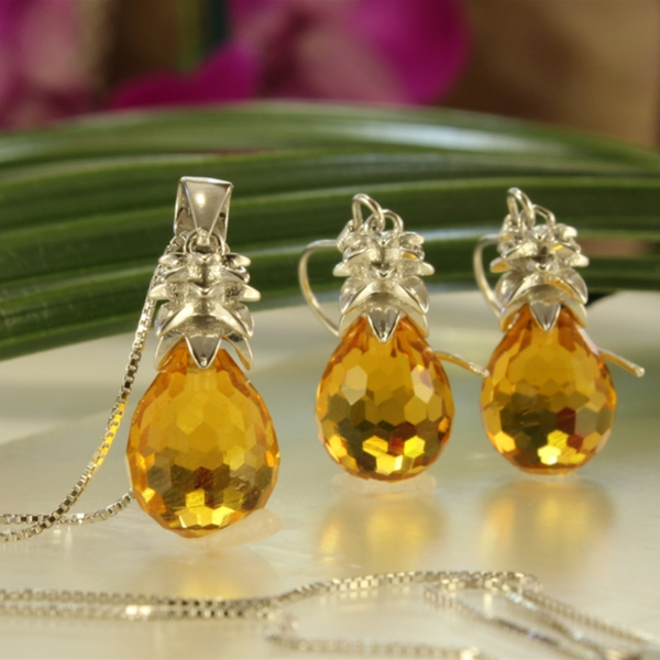 Crystal Pineapple Earrings & Pendant Set in Maui Gold