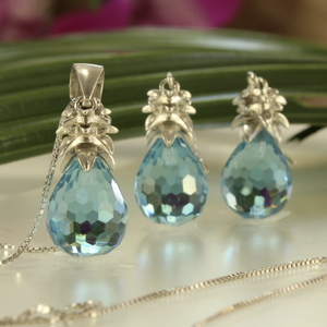 Crystal Pineapple Earrings & Pendant Set in Ocean Blue