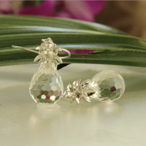 Crystal Pineapple Earrings & Pendant Set in Crystal Clear