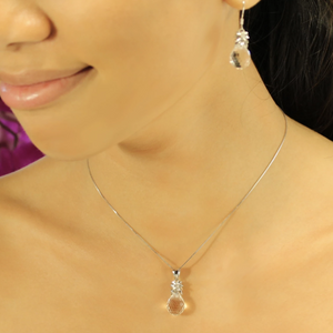 Crystal Pineapple Earrings & Pendant Set on model in Crystal Clear