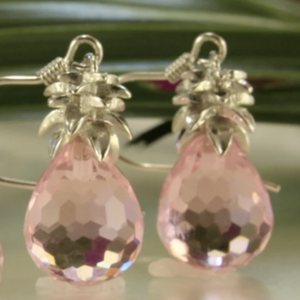Crystal Pineapple Earrings & Pendant Set in Sunset Pink