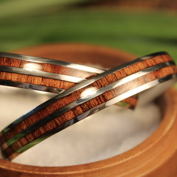 Double Koa Bangle closeup of two bangles