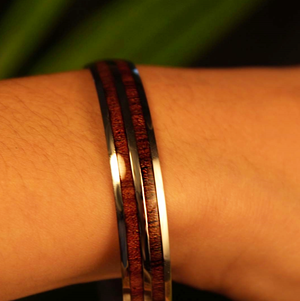 Double Koa Bangle closeup on model