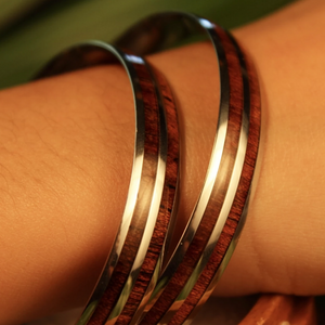 Double Koa Bangle closeup of two bangles on model