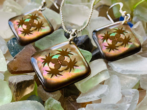 Mother of Pearl Quilt Pendant and Earring Set