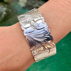 Koa Scroll Fish Hook Stainless Steel Bangle on model