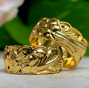 14K Gold Plated Hawaiian Scroll Unisex Band closeup