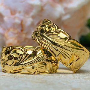 14K Gold Plated Hawaiian Scroll Unisex Band