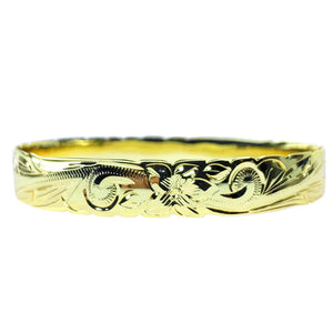 10MM Hawaiian Scroll Bangle 14K Gold Plated