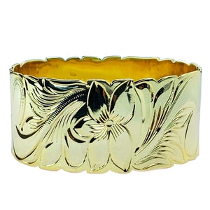 14K Gold Plated Hawaiian Scroll Bangle - 28mm
