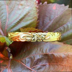 14K Gold Plated Hawaiian Scroll Bangle - 8mm