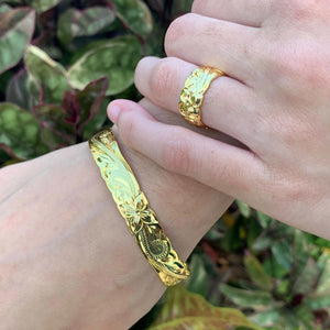 14K Gold Plated Hawaiian Scroll Bangle - 8mm on Model with Matching Ring