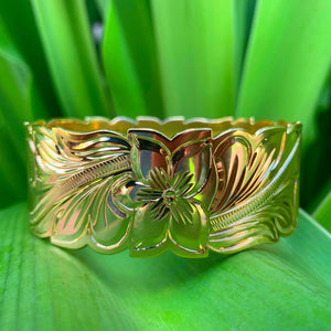 14K Gold Plated Hawaiian Scroll Bangle - 32mm
