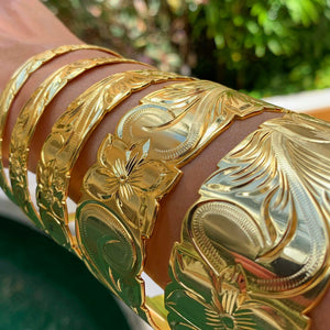 14K Gold Plated Hawaiian Scroll Bangles Assorted Sizes