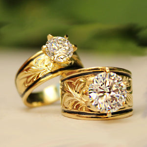 Hawaiian Scroll Sterling Gold Plated CZ Ring Closeup