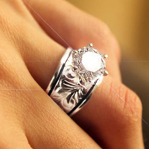 Hawaiian Scroll Sterling Silver CZ Ring Closeup