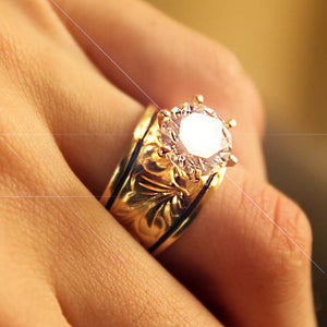 Hawaiian Scroll Sterling Gold Plated CZ Ring Closeup on model