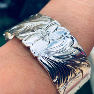 Hawaiian Scroll Bracelet in Silver Plate 32mm Closeup on Model